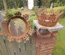 3er Set Déco avec Couronne Rostpatina Métal de Roi Jardin Edelrost Décoration