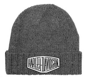 Harley-Davidson Mens Concrete Lightning Patch Heavy Ribbed Cuff Beanie Hat, Gray