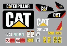 Caterpillar 301.7D decalcomanie adesive kit Completo, no nero