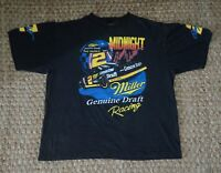 Vintage Rusty Wallace T-shirt, Midnight + Miller Beer Logo, Double Sided Prints