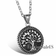 Silver Black Tone Stainless Steel Tree of Life Pendant Vintage Necklace Chain