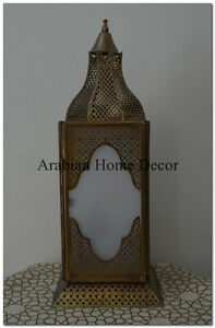 Unique Handcrafted Egyptian Moroccan Brass Table Lamp Light Lantern