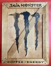RARE Java Coffee Monster Energy Drink Wooden Retail Advertising Sign MAN CAVE