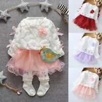 Autumn Infant Baby Kids Girls Party Lace Tutu Princess Dress Clothes Outfits Set
