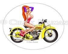 Jessica Rabbit Indian Scout sexy stripper biker babe pinup sticker decal