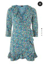 Womens Topshop New Vintage Retro Floral Wrap Ruffle Ditsy Blue Tea Dress Size 12