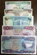 IRAQ 1/4 - 1/2 - 1-  5 - 10 DINARS   FULL SET 1973 ALL NOTES GEM UNC