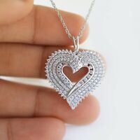 2.00 Ct Round Cut Diamond 10k White Gold Finish Hearts Pendant Charm Piece.