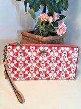 Coach Large Wristlet Bag Peyton Dream C Go Go Corner Zip  Pomegranate White  B24