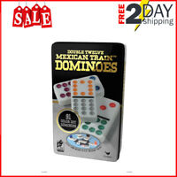 Jumbo Dominoes Double 12 Color Dot 91 Piece Set Tin Case Mexican Train Game
