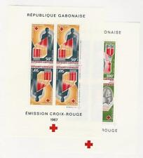 Gabon, Postage Stamp, #C54a, C55a Sheets Mint Hinged, 1967 Red Cross