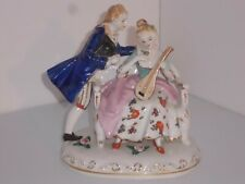 Lovely Romantic Victorian Couple Figurine Porcelain Blue And Pink 7 In Tall