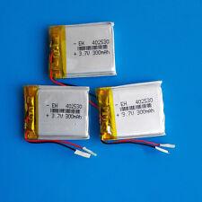 3 pcs 3.7V 300mAh Li Po Polymer Battery for MP3 GPS PSP Headset Bluetooth 402530