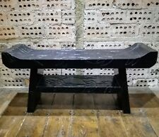 Wood Foot Stool Seat Bench Ethnic Carved Painted Bamboo Carvings Wooden Long Low