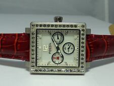 Fossil BQ9364 Women's Mother of Pearl Day Date Clear Stone Red Leather Watch