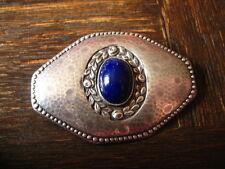 reizvolle edle große Jugendstil Brosche 800er Silber Stein lapislazuli - blau