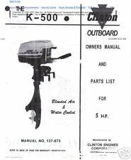 clinton k500a, parts list,manual 5hp