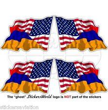 USA United States America-ARMENIA American-Armenian Flying Flag 50mm Stickers x4