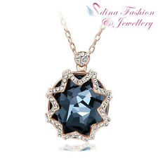 18K Rose Gold Filled Made With Swarovski Crystal Stylish Round Cut Star Necklace