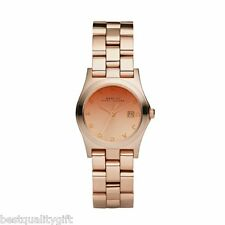 NEW MARC BY MARC JACOBS MINI HENRY ROSE GOLD STAINLESS STEEL STRAP WATCH-MBM3092