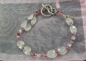 VALENTINES DAY ROSE QUARTZ CRYSTAL STERLING Heart Charm BRACELET--Hand Crafted