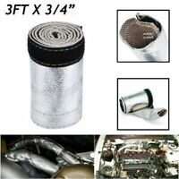"3/4"" 3 Ft Metallic Heat Shield Sleeve Insulated Wire Hose Cover Wrap Loom Tube"