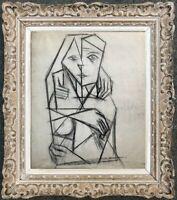 MICHEL DE ALVIS (né en 1933) OEUVRE POST-CUBISTE FEMME NUE 1955 (43)