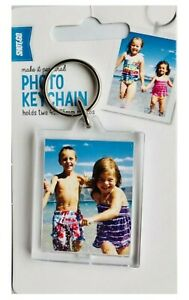 SHOT 2 GO Blank Photo Keychain Holds Two 45x35 mm Photos Rectangle Perfect Gift