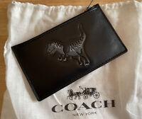 Coach Men's Embossed Rexy Slim Zip Card Case Black Wallet, 67919