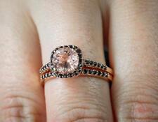 1.50 Ct Peach Pink Morganite & Diamond Engagement Bridal Ring Set 14K Gold Over