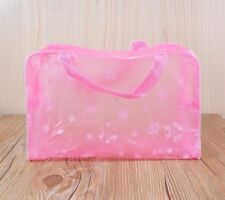 Chic Floral Print Transparent Waterproof Cosmetic Bag Bathing Toiletry Pouch Pink