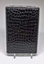 Kingstar Black Croc Silver Framed Double Sided PU Leather 120s Cigarette Case