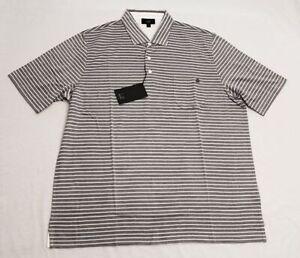 Dunhill Men's Breton Striped Cotton Polo Shirt CD4 Gray Size 3XL NWT