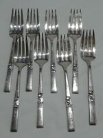 "Lot of 8 Vintage 6 3/8"" Dinner Forks Community Silver Plate Morning Star"