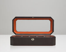 WOLF 458306 Brown/Orange Windsor 5 Piece Watch Box With Glass Cover