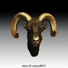 "19""Western Bronze Sheep Head Bellwether Leader Goat Wall Hanging Art Deco Statue"