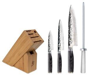 Shun Premier Grey 5 Piece Starter Block Knife Set TDMS0512G NEW