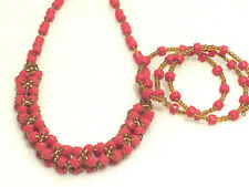 African Beads Red Necklace and Bracelet set