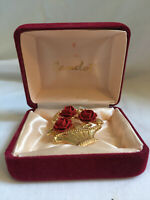 Vintage CAMELOT Gold Plated Brooch Red Roses in Flower Basket BOXED