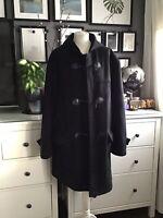 Zara Duffle Coat Faux Suede Borg Lined Xl 14 16 18 Oversized Blogger Scandi
