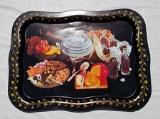 Coca-Cola Metal TV Serving Tray Advertising Fondue Cheese Fruit Black Gold 1950s