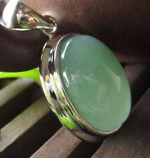 Natural Gemstones green jade 18k silver pendant jewelry