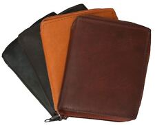 Genuine Leather Men Zip Around Hipster Bifold Tall Wallet 10 ID Card Holder
