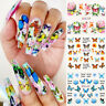 12 Pattren/Sheet Butterfly Nail Water Decals Flowers Transfer Nail Art Stickers