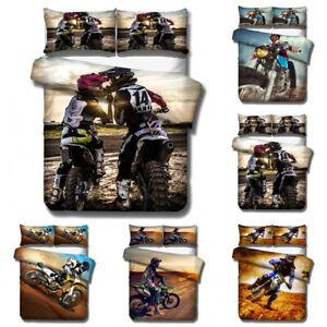 Motorbike Motocross 3D Bedding Set 2/3PCS Duvet Cover & Pillowcase(s) Gift AU2F