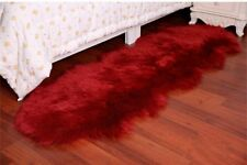 Red Wine Double 6'X2' Bedroom Faux Fur Carpet Imitate Sheepskin Rug Washable Mat