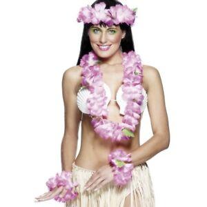 Pink Hawaiian Set - Ladies Hawaii Summer Fancy Dress Accessories