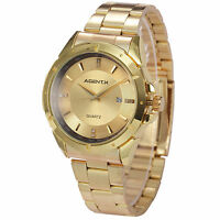 U.S.A AgentX Mens Date Gold Case Quartz Stainless Steel Fashion Wrist Watch+Box