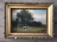 Antique Vintage J.Davis Landscape Sheep Oil Painting on Canvas Plaster Frame