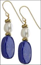 """Egyptian Lapis Oval Beads and Fresh Water Pearl Earrings 1"""" Long x 0.4"""" Wide"""